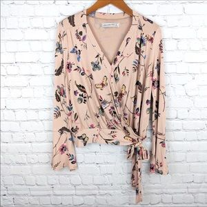 Aberombie & Fitch Floral Faux Wrap Crop Top Size S